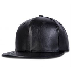 Gorra Negra de Cuero con...