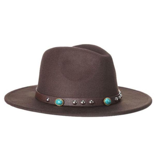 051dc04c00b02 🧢 Sombrero para hombre de Ala ancha Correa con esmeraldas Lana