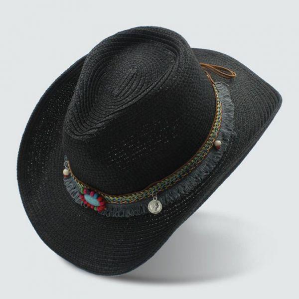 d8229913de 🧢 Sombrero vaquero Paja Moda Mujer con Correa hecha a mano