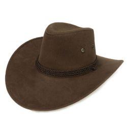Sombrero de Vaquero para Hombre y Mujer Cowboy Cuero con cuerda