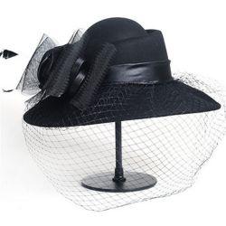 Sombrero mujer con Velo Red Malla hecho de Lana con Flor y Lazo
