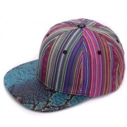Gorra Hip Hop multi color linea vertical Visera plana Piel...