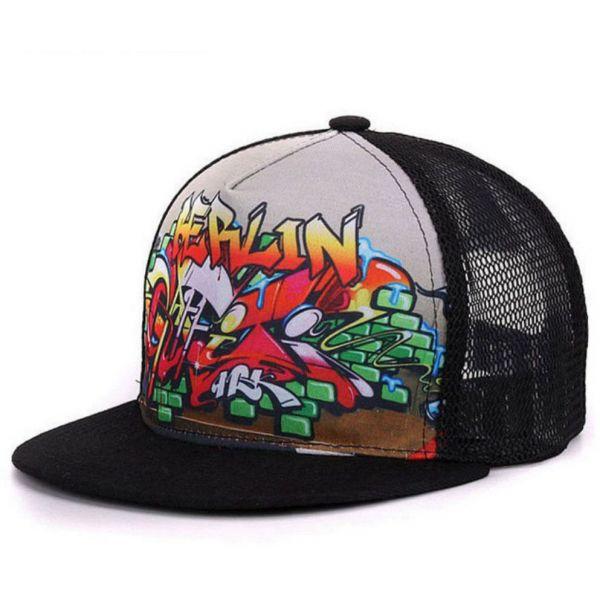 762c1867b80a0 🧢 Gorra con Grafiti original Transpirable Algodón Visera Plana Hip Hop  Moda RAP