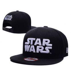 Gorra Star Wars en Negro Algodón con visera Plana Bordado logo