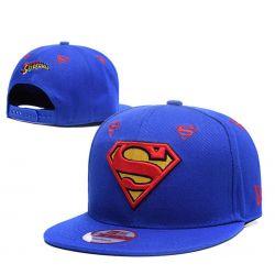 Gorra de Superman Azul con visera Plana y logotipos Bordado...