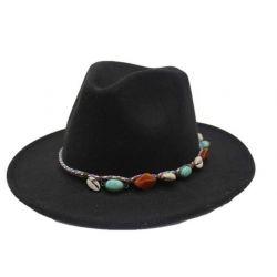 Sombrero de Fieltro Safiro y Conchas del Mar
