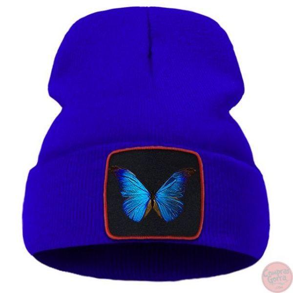 Gorro Hip Hop Mariposa Azul Parche...