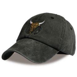 Gorra de Béisbol Con calavera de Búfalo bordado gran Detalle...