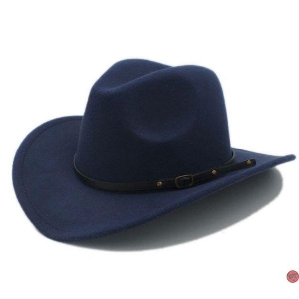 c70ba54a44aad 🧢 Sombrero de Lana Vaquero para Hombre y Mujer Jazz con cinta de Cuero